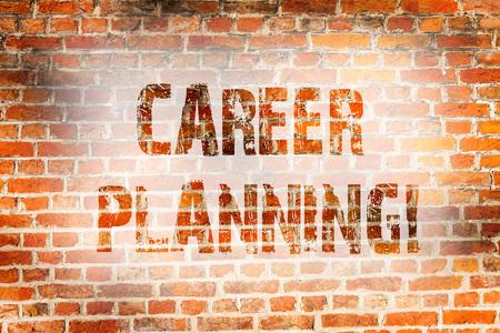 Conceptual hand writing showing Career Planning. Concept meaning Professional Development Educational Strategy Job Growth Brick Wall art like Graffiti motivational written on wall 版權商用圖片