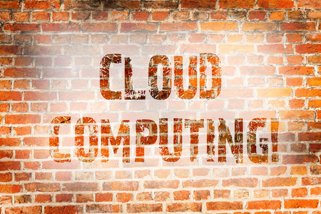 Conceptual hand writing showing Cloud Computing. Concept meaning Online Information Storage Virtual Media Data Server Brick Wall art like Graffiti motivational written on wall