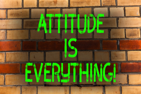 Word writing text Attitude Is Everything. Business photo showcasing Personal Outlook Perspective Orientation Behavior Brick Wall art like Graffiti motivational call written on the wall Stok Fotoğraf - 118523155