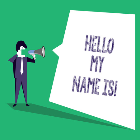 Text sign showing Hello My Name Is. Business photo text Introduce yourself meeting someone new Presentation Stok Fotoğraf
