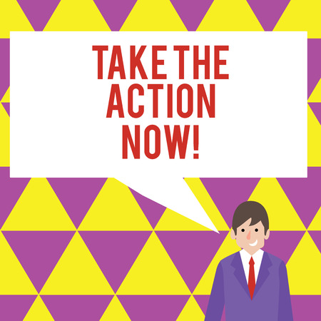 Text sign showing Take The Action Now. Business photo showcasing Act Start Promptly Immediate Instantly Stock fotó