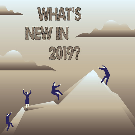 Text sign showing What S New In 2019. Business photo showcasing Year resolution Goals Career achievements Technology