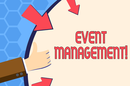 Writing note showing Event Management. Business concept for Special Occasion Schedule Organization Arrange Activities