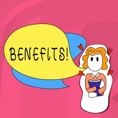 Word writing text Benefits. Business photo showcasing Advantage Insurance Compensation Interest Revenue Gain Aid