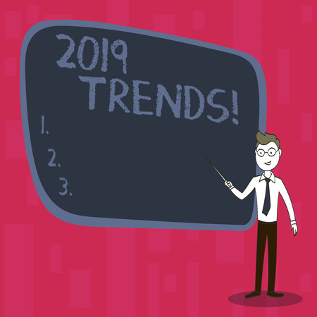 Handwriting text 2019 Trends. Conceptual photo New year developments in fashion Changes Innovations Modern