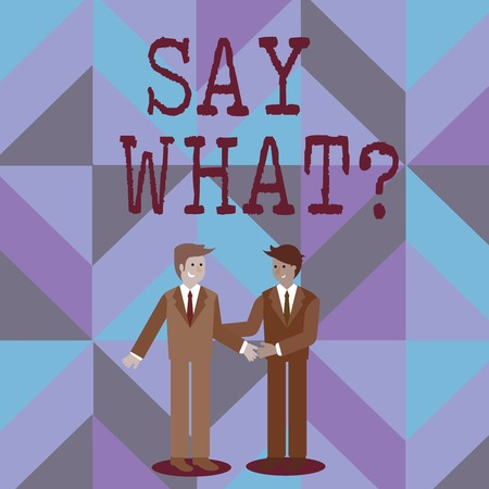 Word writing text Say Whatquestion. Business photo showcasing Repeat the thing you said Astonishment Surprise Expression