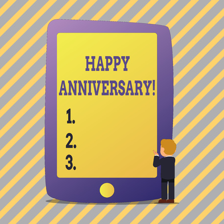 Text sign showing Happy Anniversary. Business photo showcasing Annual Special Milestone Commemoration
