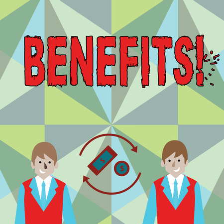 Conceptual hand writing showing Benefits. Concept meaning Advantage Insurance Compensation Interest Revenue Gain Aid Reklamní fotografie