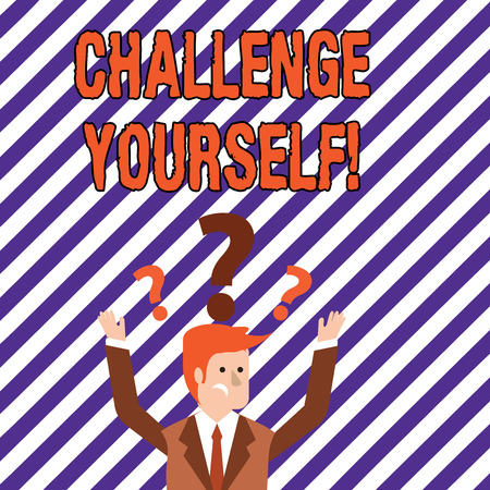 Text sign showing Challenge Yourself. Business photo showcasing Overcome Confidence Strong Encouragement Improvement Dare Archivio Fotografico