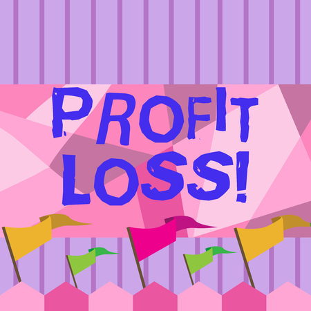 Writing note showing Profit Loss. Business concept for Financial year end account contains total revenues and expenses