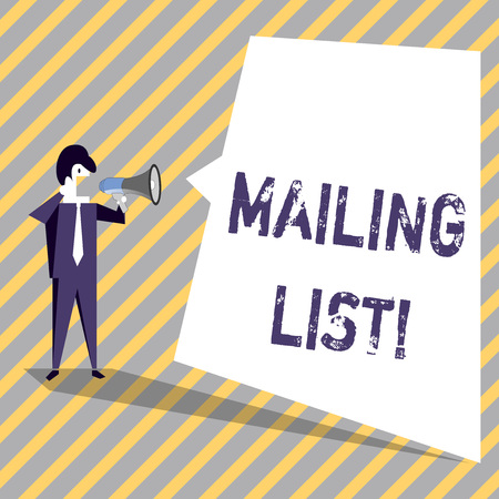 Writing note showing Mailing List. Business concept for Names and addresses of showing you are going to send something