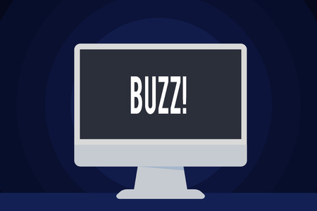 Text sign showing Buzz. Business photo text Hum Murmur Drone Fizz Ring Sibilation Whir Alarm Beep Chime 스톡 콘텐츠