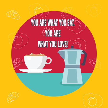 Word writing text You Are What You Eat You Are What You Love. Business photo showcasing Start to eat healthy food