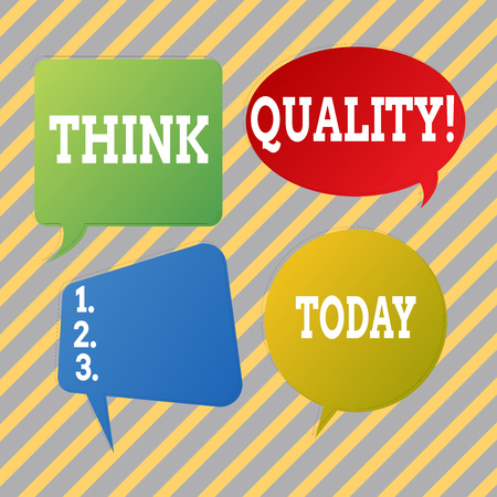 Text sign showing Think Quality. Business photo text Thinking of Innovative Valuable Solutions Successful Ideas