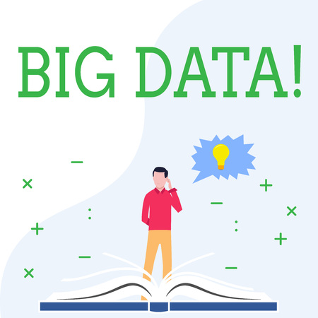 Conceptual hand writing showing Big Data. Concept meaning Large amount of information that needs to be analyzed by computers Stock Photo