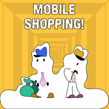 Writing note showing Mobile Shopping. Business concept for Buying Products Online Technological Purchase Wireless Sales
