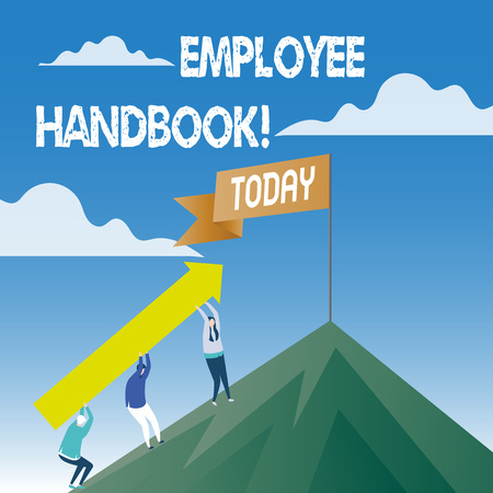 Word writing text Employee Handbook. Business photo showcasing Document Manual Regulations Rules Guidebook Policy Code Standard-Bild