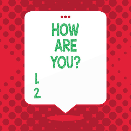 Handwriting text How Are You question. Conceptual photo Your Health status Asking about your life and health 写真素材 - 118576981