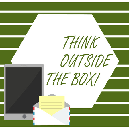 Writing note showing Think Outside The Box. Business concept for Thinking of new and creative solution leads to success