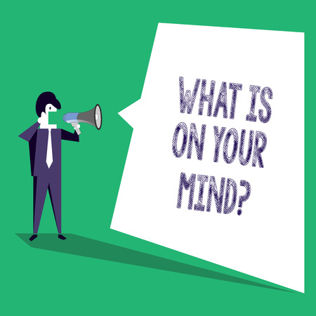 Text sign showing What Is On Your Mindquestion. Business photo text Open minded thinks of intellectual innovation Stok Fotoğraf