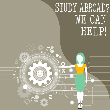 Conceptual hand writing showing Study Abroadquestion We Can Help. Concept meaning going overseas complete your studies