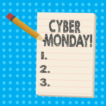 Handwriting text Cyber Monday. Conceptual photo Special sales after Black Friday Online Shopping Ecommerce