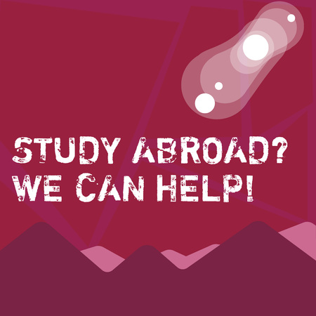 Writing note showing Study Abroadquestion We Can Help. Business concept for going overseas complete your studies