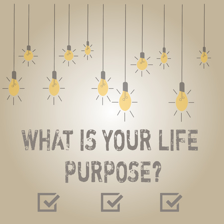 Writing note showing What Is Your Life Purposequestion. Business concept for Personal Determination Aims Achieve Goal Stockfoto