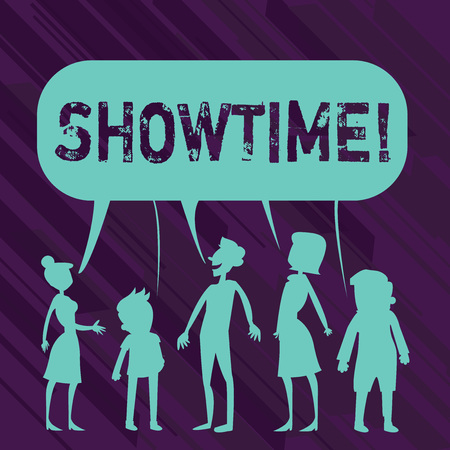 Conceptual hand writing showing Showtime. Concept meaning Time a Play Film Concert Perforanalysisce Event is scheduled to start Banque d'images - 118577618