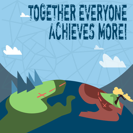 Writing note showing Together Everyone Achieves More. Business concept for Teamwork Cooperation Attain Acquire Success Banque d'images