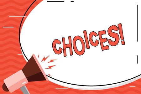 Opciones de escritura de texto de Word. Foto de negocios mostrando preferencia, discreción, inclinación, distinguir la selección de opciones