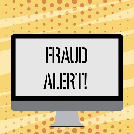 Text sign showing Fraud Alert. Business photo showcasing Security Message Fraudulent activity suspected Stock Photo - 118578690