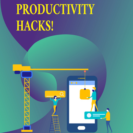 Text sign showing Productivity Hacks. Business photo showcasing Hacking Solution Method Tips Efficiency Productivity Standard-Bild - 118580224
