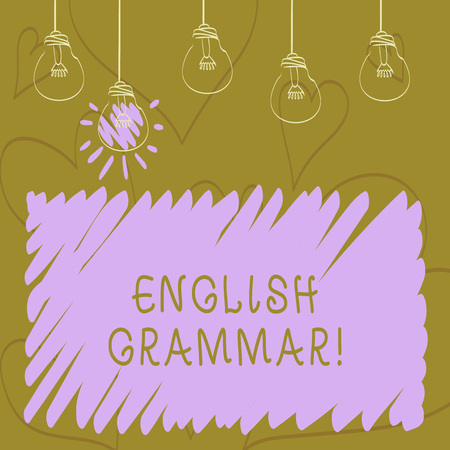 Text sign showing English Grammar. Business photo showcasing Language Knowledge School Education Literature Reading