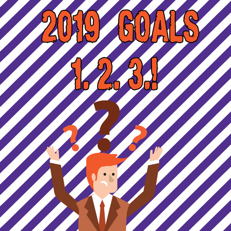 Text sign showing 2019 Goals 1 2 3. Business photo showcasing Resolution Organize Beginnings Future Plans Stock Photo