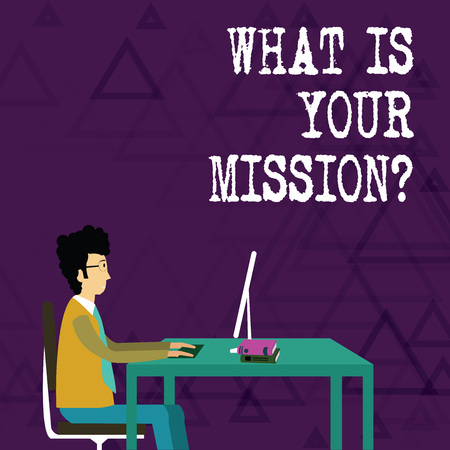Writing note showing What Is Your Mission question. Business concept for asking someone about his plans and todo list
