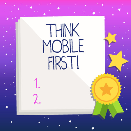 Handwriting text Think Mobile First. Conceptual photo Handheld devises marketing target portable phones first