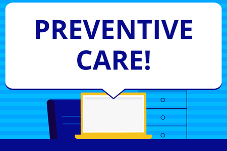 Conceptual hand writing showing Preventive Care. Concept meaning Health Prevention Diagnosis Tests Medical Consultation