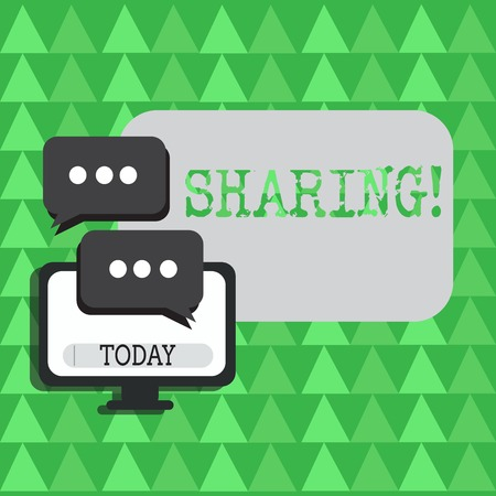 Conceptual hand writing showing Sharing. Concept meaning To Share Give a portion of something to another Possess in common Stock Photo