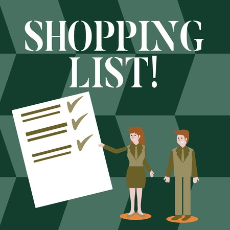 Handwriting text Shopping List. Conceptual photo Products Groceries you need to buy Supermarket Checklist Foto de archivo