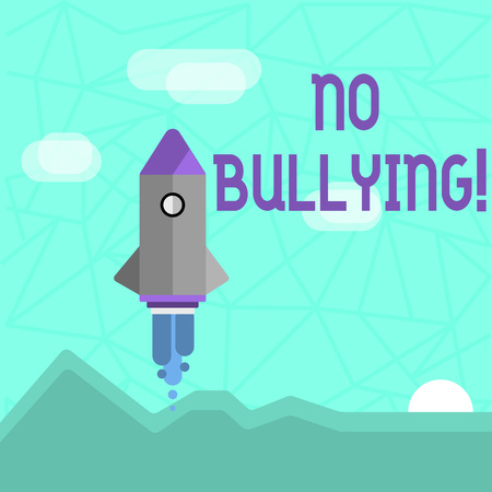 Writing note showing No Bullying. Business concept for Forbidden Abuse Harassment Aggression Assault