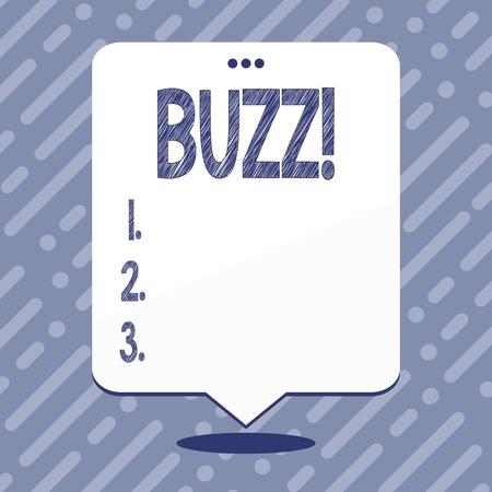 Text sign showing Buzz. Business photo showcasing Hum Murmur Drone Fizz Ring Sibilation Whir Alarm Beep Chime 版權商用圖片