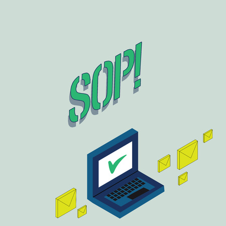Writing note showing Sop. Business concept for Standard Operating Procedure Rules Instructions