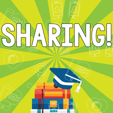 Writing note showing Sharing. Business concept for To Share Give a portion of something to another Possess in common