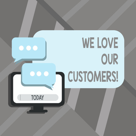 Word writing text We Love Our Customers. Business photo showcasing Client deserves good service satisfaction respect 写真素材