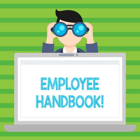 Conceptual hand writing showing Employee Handbook. Concept meaning Document Manual Regulations Rules Guidebook Policy Code