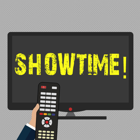 Writing note showing Showtime. Business concept for Time a Play Film Concert Perforanalysisce Event is scheduled to start Banque d'images - 118597995