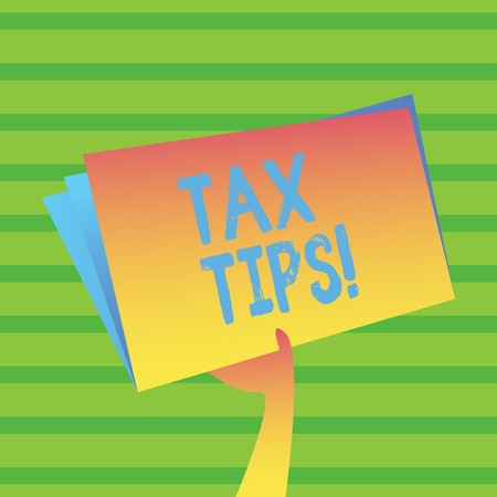Word writing text Tax Tips. Business photo showcasing Help Ideas for taxation Increasing Earnings Reduction on expenses 스톡 콘텐츠