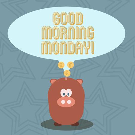Handwriting text Good Morning Monday. Conceptual photo Happy Positivity Energetic Breakfast Imagens - 118595680