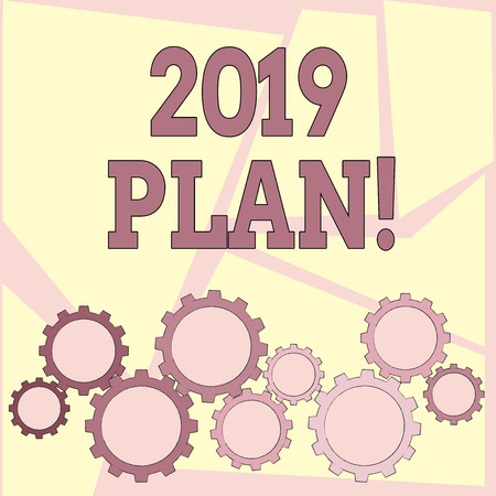 Text sign showing 2019 Plan. Business photo showcasing Challenging Ideas Goals for New Year Motivation to Start